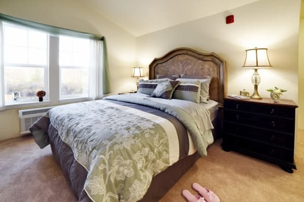 A spacious bedroom at Stoneybrook Assisted Living in Corvallis, Oregon