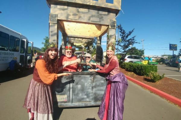Residents dressed as king and queen at Stoneybrook Assisted Living in Corvallis, Oregon