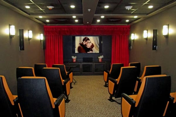 A movie theater at The Palms at La Quinta Assisted Living and Memory Care in La Quinta, California