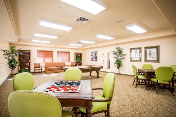 Checkers on a table at The Palms at La Quinta Assisted Living and Memory Care in La Quinta, California