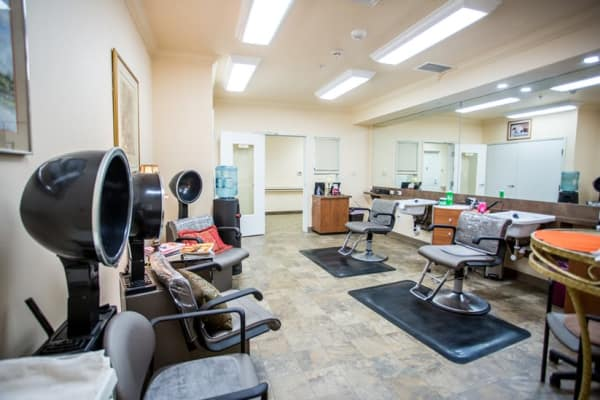 The hair salon at The Palms at La Quinta Assisted Living and Memory Care in La Quinta, California