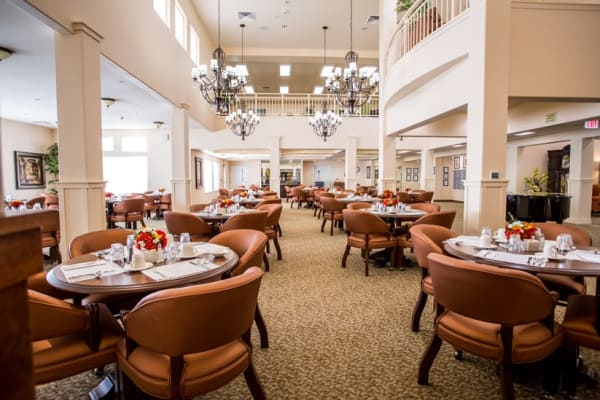 The dining room at The Palms at La Quinta Assisted Living and Memory Care in La Quinta, California