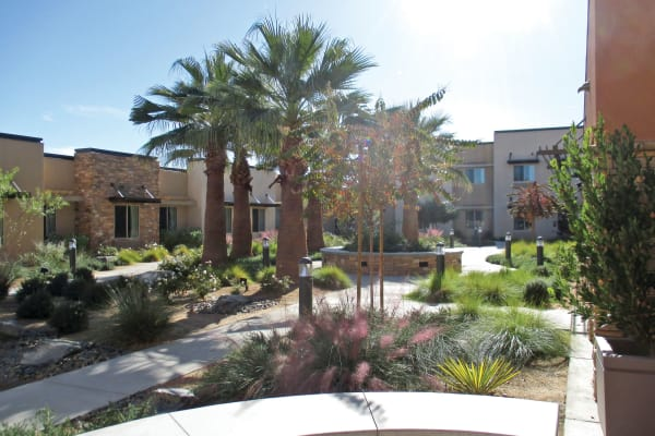 A beautiful courtyard at The Palms at La Quinta Assisted Living and Memory Care in La Quinta, California