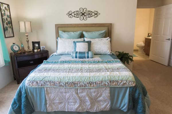 An apartment bedroom at Victoria Park Personal Care Home in Regina, Saskatchewan
