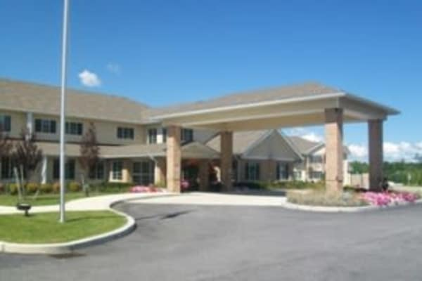 The main entrance to Winterberry Heights Assisted Living in Bangor, Maine