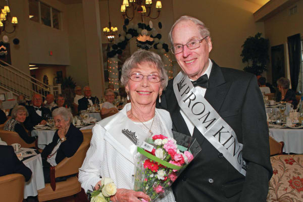 Prom king and queen at Camellia Gardens Gracious Retirement Living in Maynard, Massachusetts