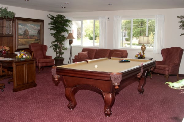 A billiards table at Amber Park in Pickerington, Ohio