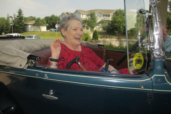 A resident in a classic car at Birchwoods at Canco Assisted Living in Portland, Maine