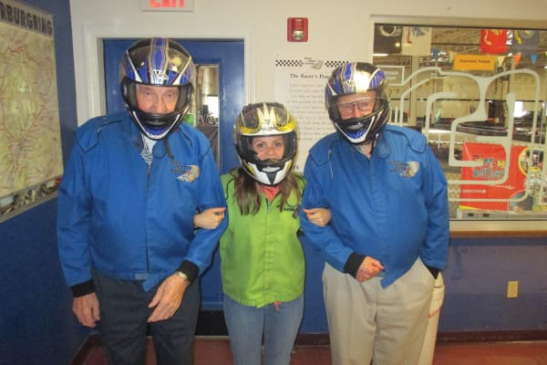 Residents from Birchwoods at Canco Assisted Living in Portland, Maine wearing helmets