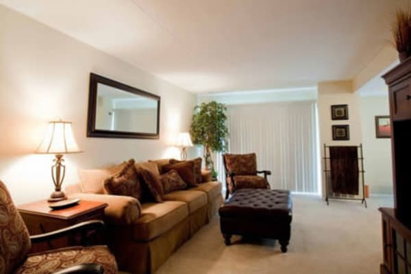 Furnished living room in model home at Willowbrook Apartments in Jeffersonville, Pennsylvania