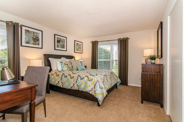 Furnished bedroom in model home at The Preserve at Milltown in Downingtown, Pennsylvania