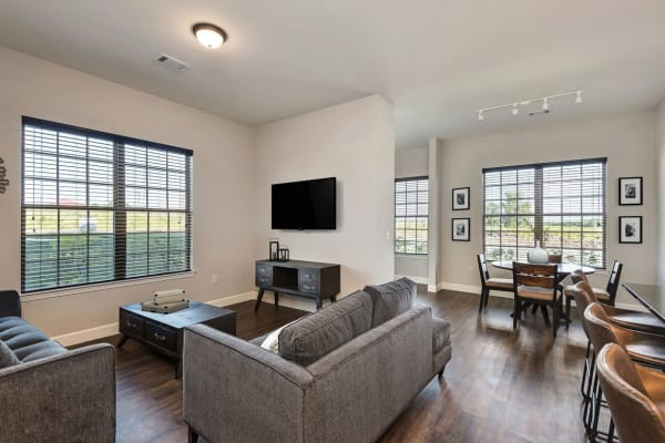 Stylish living room at Boulders at Overland Park Apartments in Overland Park, Kansas