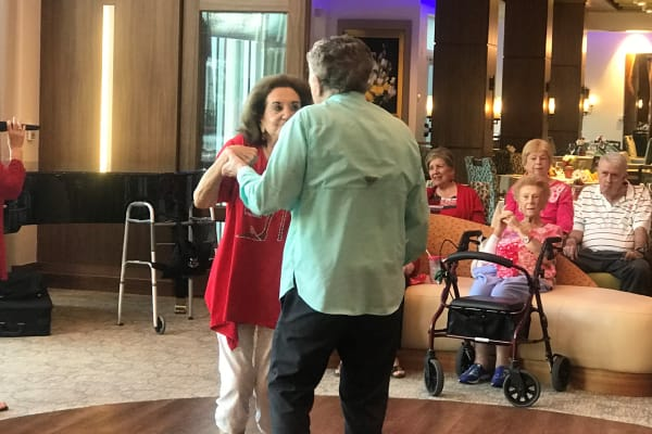 Having some fun dancing at the Valentines party at All Seasons Naples in Naples, Florida