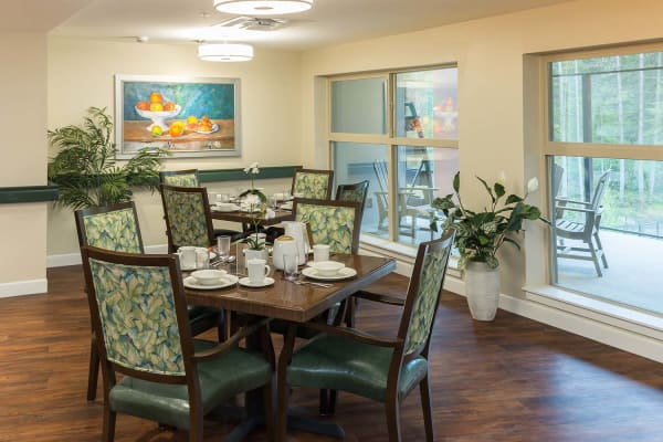 Dining room with a view at Avenir Memory Care at Nanaimo in Nanaimo, British Columbia.