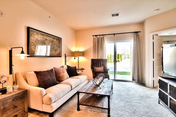 Spacious living rooms at Aventura at Mid Rivers in Saint Charles, Missouri.