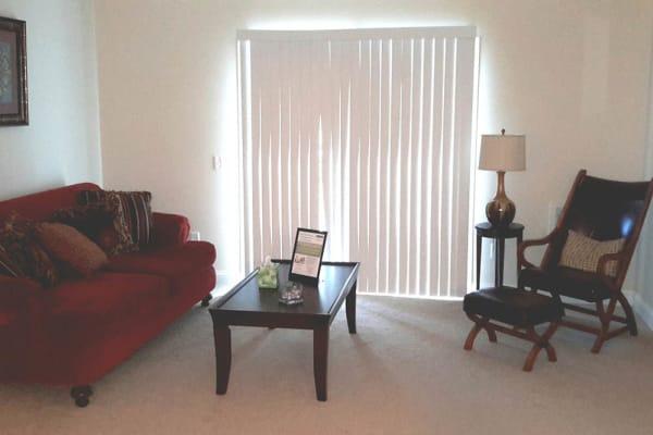 Living room at Grassfields Commons in Dracut, Massachusetts