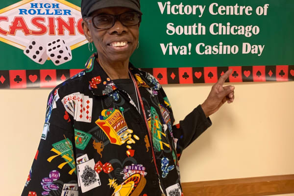 smiling resident during casino day