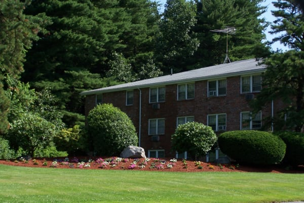 Lush landscaping at Westgate Arms Apartments in Salem, New Hampshire
