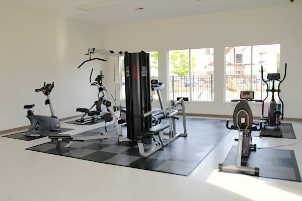 Gym at Brookstone Apartments in Fayetteville, North Carolina