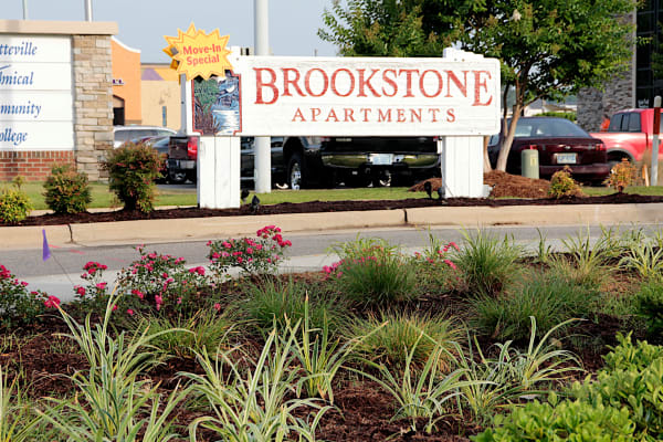 Front sign at Brookstone Apartments in Fayetteville, North Carolina