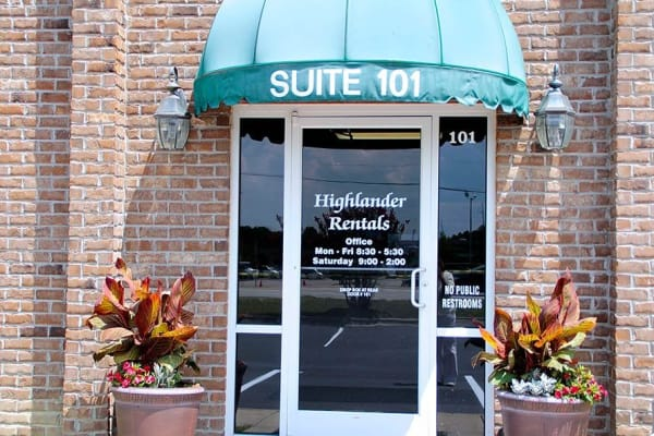 Front entrance at Highlander Apartments in Fayetteville, North Carolina