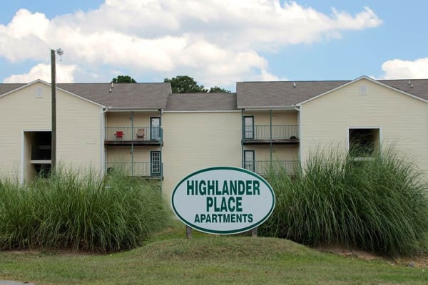 Front sign at Highlander Apartments in Fayetteville, North Carolina