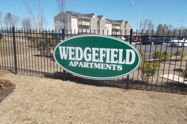 Front sign at Wedgefield Apartments in Raeford, North Carolina