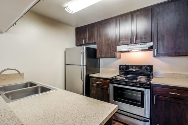 Brown renovation kitchen with stainless steel appliances at Hillside Terrace Apartments in Lemon Grove