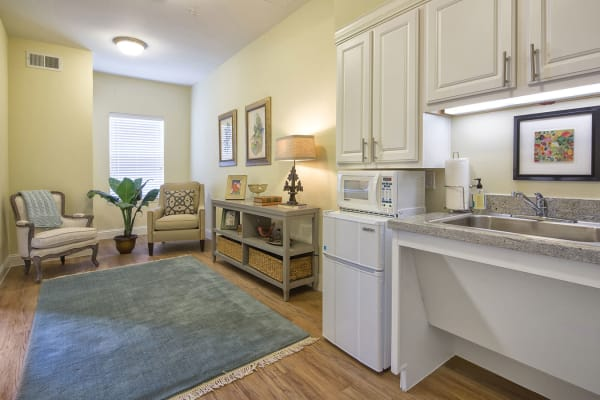 Kitchen and living room at The Village of Meyerland in Houston, Texas
