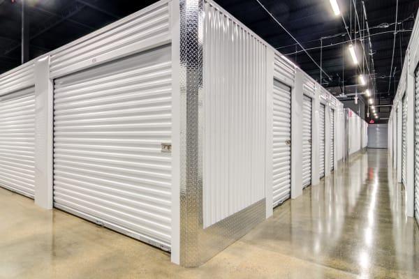 Clean well lit hallways at Metro Self Storage
