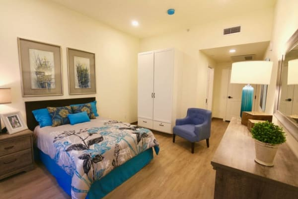 Bedroom at Seasons Memory Care at Rolling Hills in Torrance, California