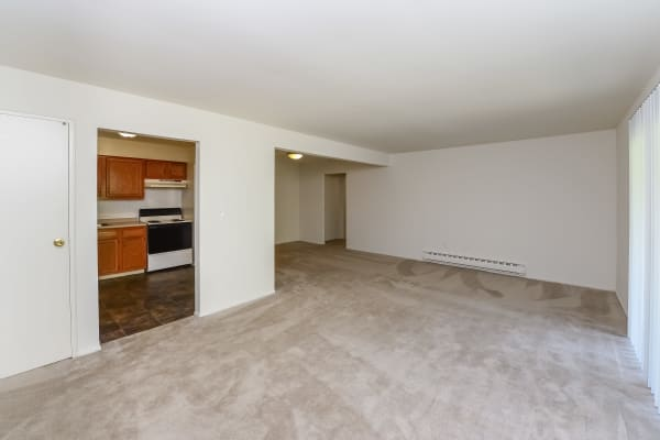 Living Room & kitchen view at Whitestone Village Apartment Homes in Allentown, PA