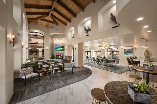 Modern clubhouse with decor at San Palmas in Chandler, Arizona