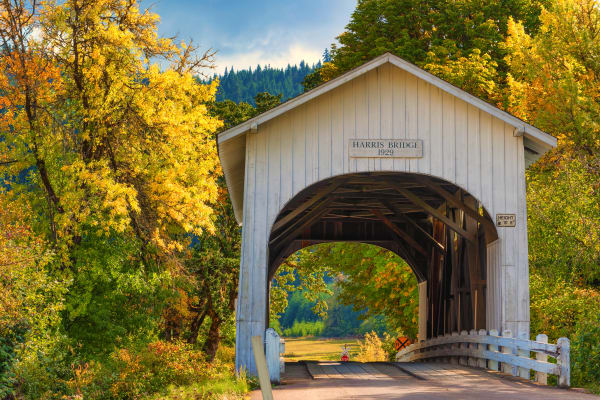Beautiful, covered bridge near The Boulevard in Philomath, Oregon