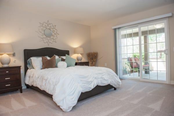 Beautiful bright bedroom at Westmont Village in Riverside, California