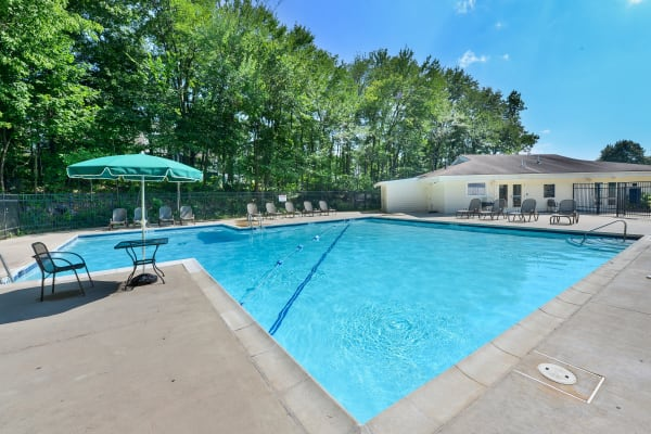 Swimming pool at our apartments in Jeffersonville, Pennsylvania at Willowbrook Apartments