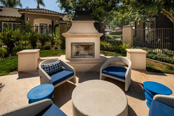 Outdoor lounge at Castlerock at Sycamore Highlands in Riverside, California