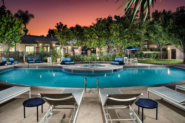 Swimming pool at Castlerock at Sycamore Highlands in Riverside, California