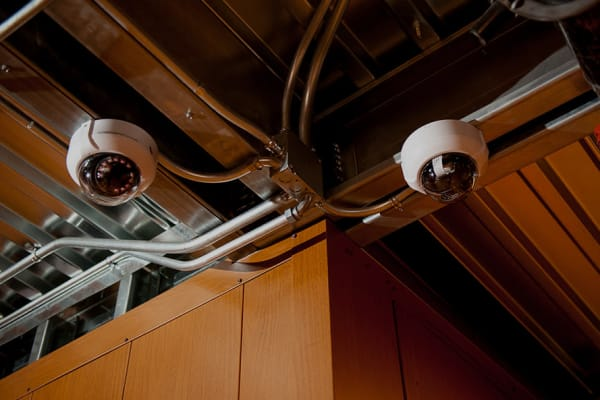 Security cameras at Collection 55 Cellars in Redwood City, California