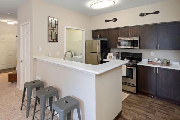 Kitchen and Living Room at Wildreed Apartments in Everett