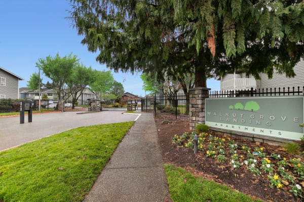Monument sign with beautiful flowers at Walnut Grove Landing Apartments in Vancouver, WA