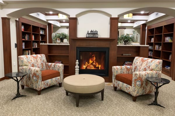 The community library at Camellia Gardens Gracious Retirement Living in Maynard, Massachusetts