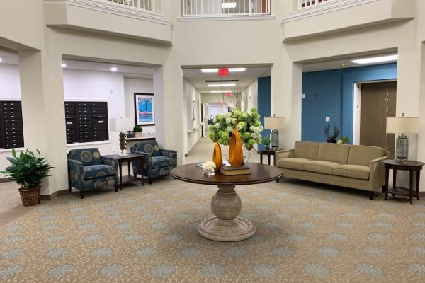 A cozy seating area at Camellia Gardens Gracious Retirement Living in Maynard, Massachusetts