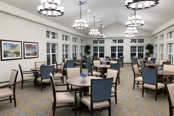 The dining room at Camellia Gardens Gracious Retirement Living in Maynard, Massachusetts