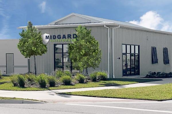 Storage units with purple doors at Midgard Self Storage in Melbourne, Florida
