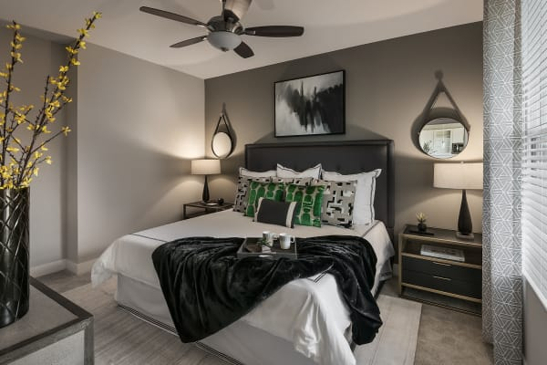 Wonderful master bedroom at The Halsten at Chauncey Lane in Scottsdale, Arizona