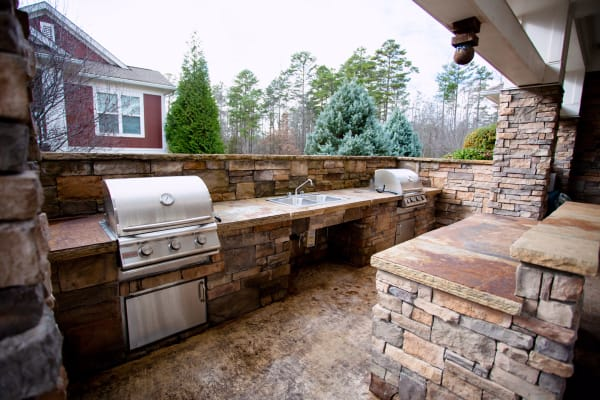 Outdoor barbecue space at Berkshire Fort Mill in Fort Mill SC