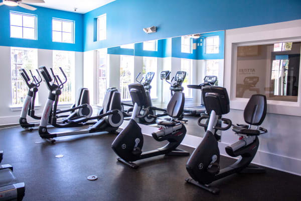 Fitness center at Berkshire Fort Mill in Fort Mill SC features a variety of exercise equipment