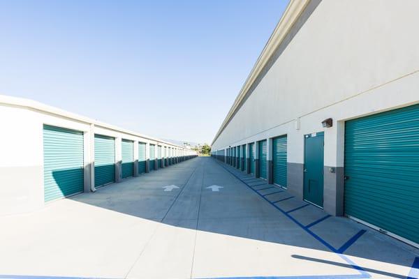 Large outdoor storage units at Chino Self Storage in Chino, California