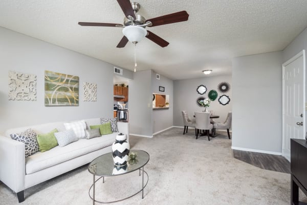Bright living room at Paddock Club Apartments in Florence, Kentucky